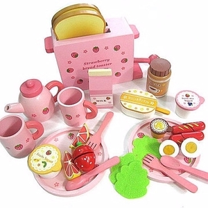 Toast bread wooden toys wooden toaster set (movable)