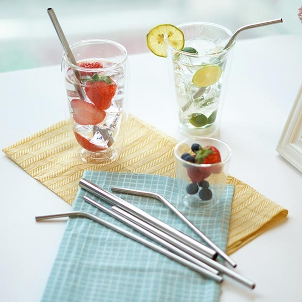 [TAITRA] 【WorkingGoods】Food Grade 316 Stainless-Steel Drinking Straw - Great Value Set of 7 (Includes Cleaning Brush)