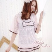 (Isabella)[Isabella] A008 wide decorative butterfly knot netting jacket (total two-color) - sweet pink F