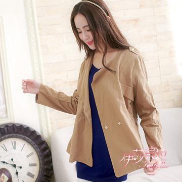 (Isabella)[Isabella] military style shoulder buckle waisted jacket lapel A485 (whims khaki)