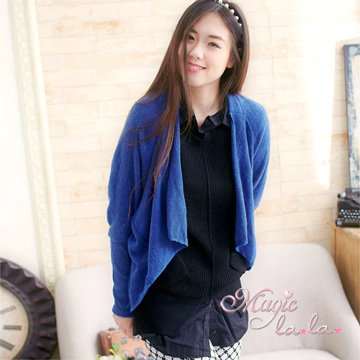 (Isabella)【Isabella】 simple lapel knitted blouse jacket A487 (fashionable blue)