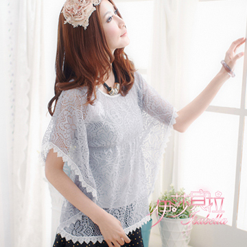 (Isabella)[Isabella] Lace with Sleeve Top A016 (Qin sweet gray)