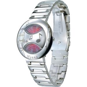 [TAITRA]  Hanna นาฬิกาข้อมือรุ่นหน้าปัดหมุนพิเศษ(เหล็กแบบเงา-หุ่นยนต์)สีแดง