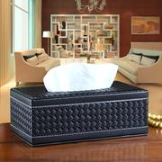 [TAITRA]  【EXQUISITE】 กล่องใส่ทิชชูหนัง ลายถัก ดีไซน์สไตล์ยุโรป กล่องใส่ทิชชูและของจุกจิก มีแม่เหล็ก - สีดำ