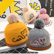 Autumn and winter children kittens cut wool warm knit hat