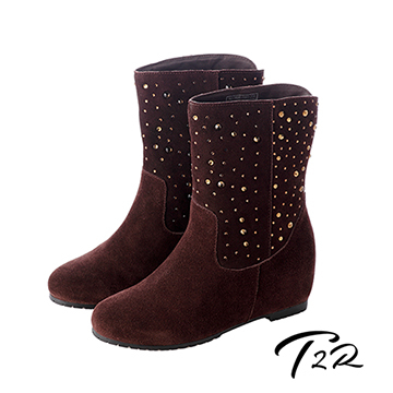 (T2R)[South Korea] within T2R luxury diamond leather boots 7cm increased coffee (5600-0082)