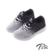 (T2R)[T2R South Korea's air transport within the fly line braid casual shoes increased 6 cm - White Black (5600-0238) ↑ 6cm