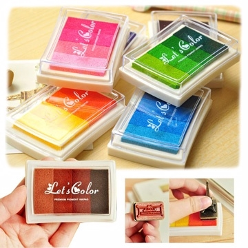 (Kiret)Value 4 into kiret special stamp ink pad - green pinkish-orange color gradients