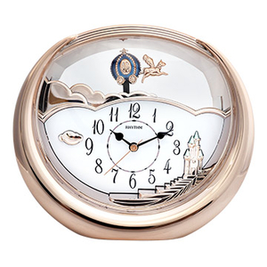 (RHYTHM CLOCKS)Japan beautiful sound bell - new rose gold / fairy tale carriage dynamic pendulum / beautiful home decorations / Silent clock
