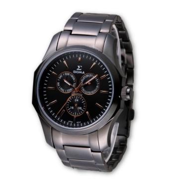 (SIGMA)SIGMA perfect sapphire black mirror fashion watch / 42mm / 1018M-BG