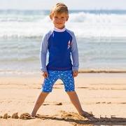 (ตุ่นปากเป็ด) เด็กตุ่นปากเป็ดออสเตรเลียครีมกันแดดชุดว่ายน้ำแจ็คเก็ตแขนยาว + กางเกงขี่ม้ากลุ่มเล็ก ๆ อายุ 4-8 ปี M ชุดแล่นเรือใบ