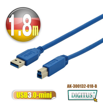 ยาวล้านล้าน DIGITUS USB3.0A ปฏิวัติสาย B ตัวผู้ miniUSB3.0 * 1.8 ม. สีน้ำเงิน