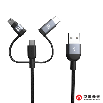 (ADAM elements)【Genie Elements】 PeAk II Trio Cable 120B Lightning + MicroUSB + TypeC three metal braided transmission line gray