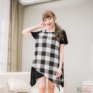 [EE-LADY] เสื้อเชิ้ตแขนสั้นลายสก๊อตสีดำยาวเย็บ - ดำ