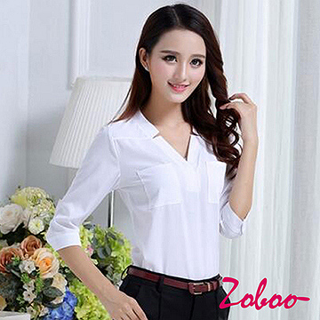 (ZOBOO)ZOBOO-lace cotton OL long-sleeved shirt-POP842