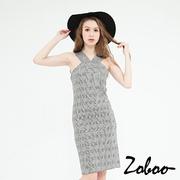 (zoboo)[] Zoboo Daqian birds Plaid Halter straight dress (Q5017) Gray