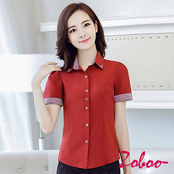 (ZOBOO)ZOBOO-Rhinestone Sleeve Sleeve OL Short Sleeve Shirt -OB845