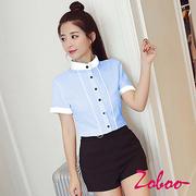 (ZOBOO)ZOBOO-Korean version of the collar collar collar short-sleeved shirt-OB851