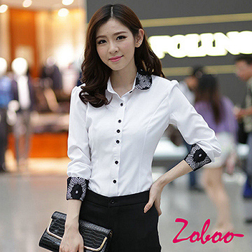 (ZOBOO)ZOBOO-Sleeve Colorful OL Long Sleeve Shirt-OB836