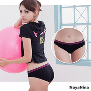 (Naya Nina) เล่น Naya Nina [สี] เล่น! ตีแถบเอวต่ำที่ไร้รอยต่อแถบสี S-XL (สีดำ)