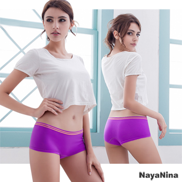 [TAITRA] Naya Nina Play with Colors!Contrast Color Seamless Low Waist Boxer S-XL (Purple)