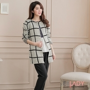[EE-LADY] Korean-based cross-thick knit cardigan Long Jacket - gray