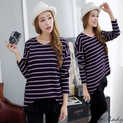 [EE-LADY] short in front long striped knit long-sleeved shirt (purple)