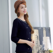 [EE-LADY] butterfly neckwear love Quilted seven textured knit tops (blue)