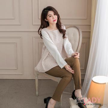 [EE-LADY] เสื้อแขนยาวมีพลีท สไตล์เกาหลี - สีชมพู