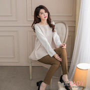 [EE-LADY] Korean fake two umbrella knit tops (pink)