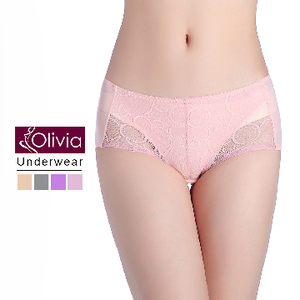 (Olivia)【Olivia】 two-color lace cotton waist leakage physiological pants (pink)