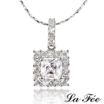 [TAITRA] LA FEE Top-Grade Selected Princess Square Diamond Necklace
