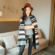(Seoul Show)Seoul Show Luo Camry dash Plaid cashmere scarves dark gray + pink