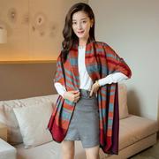 (Seoul Show)Seoul Show Luo Camry dash Plaid cashmere scarves Orange + Grey