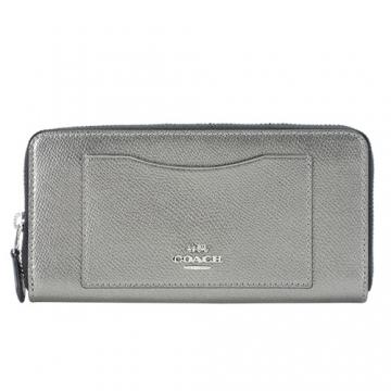 COACH carriage front pocket zipper long word mo clip (silver)