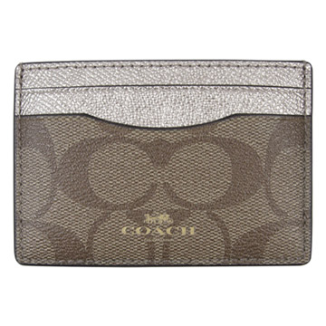 ( COACH)Imperial COACH scratch leather LOGO stitching double-sided business card / ticket card holder (khaki / light gold)