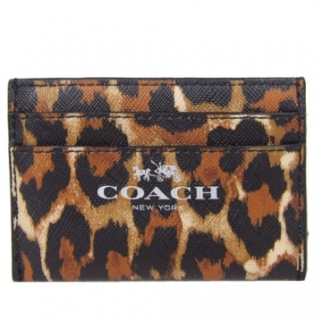 COACH PVC layer classic five card business card documents folder (Leopard)