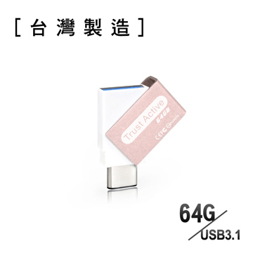 [TAITRA] Trust Active - 64GB - USB 3.1 Type-C OTG Dual Mini Flash Drive - Sandblast Pink