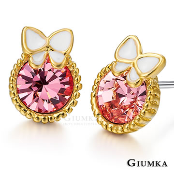 [GIUMKA] ต่างหูทองคำหรูหรา (สีชมพู) MF602-1