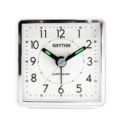 (RHYTHM CLOCKS)Japan Li sound bell - Lightweight good portable / travel with / luminous fashion small alarm clock (simple white)
