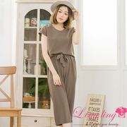 Lingling A3372-02 elegant time small strapless coat + elastic wide pants two-piece suit (minimalist coffee color)
