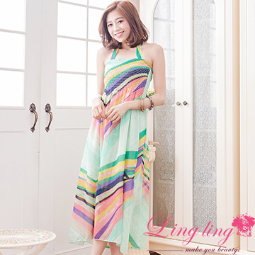 Lingling A3011-02 flower summer colorful neck strap long version of the dress (printing green)