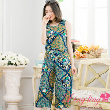 Lingling A3345-01 vacation style totem vest + seven points wide pants two-piece suit (bright blue green)