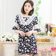 lingling A3347-01 romantic charming round neck stitching V-lace pattern dress (romantic blue)
