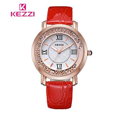 [17mall] Ke สีม่วง KEZZI โรมย้อนยุคทรายดูดสร้างสรรค์เข็มขัด rhinestone นาฬิกาควอทซ์ - สีแดง