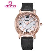 [17mall] 珂紫 KEZZI โรมย้อนยุคความคิดสร้างสรรค์ดูดเข็มขัด rhinestone นาฬิกาควอทซ์ - ดำ