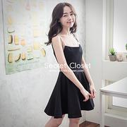(secret-closet)【Secret Wardrobe】 Korean version of the wild letter with waist umbrella skirt dress