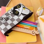 ส่งฟรี 36 ชม.!!กระเป๋าดินสอหนัง PU  กันน้ำ ลายแมวเมี้ยว (มีโค้ดลด)