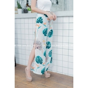กางเกงผ่าแหวกข้าง ลายดอกฮาวาย