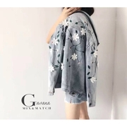 เสื้อ jecket ยีนส์ปักเดินลายตัวดอกไม้ปักเป็นสามมิติ
